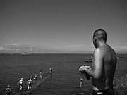 Open water swim, Monkstown, Co. Dublin, Ireland, July 2005.