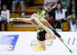 Kseniya Moustafaeva of France competes during 27th MTM - International tournament in rhythmic gymnastics Ljubljana, on April 19, 2014 in Arena Krim, Ljubljana, Slovenia. Photo by Vid Ponikvar / Sportida
