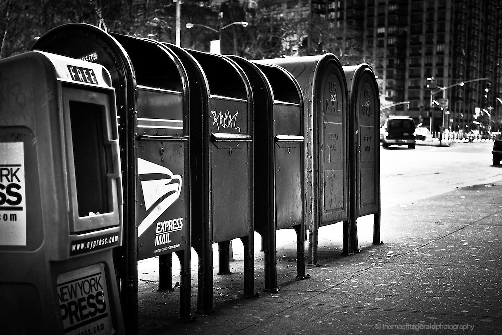 Post Boxes on the side of a NYC Street, Black & White