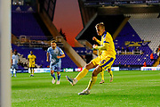 AFC Wimbledon forward Marcus Forss (15), on loan from Brentford, scores a goal to make the score 0-1 during the EFL Sky Bet League 1 match between Coventry City and AFC Wimbledon at the Trillion Trophy Stadium, Birmingham, England on 17 September 2019.