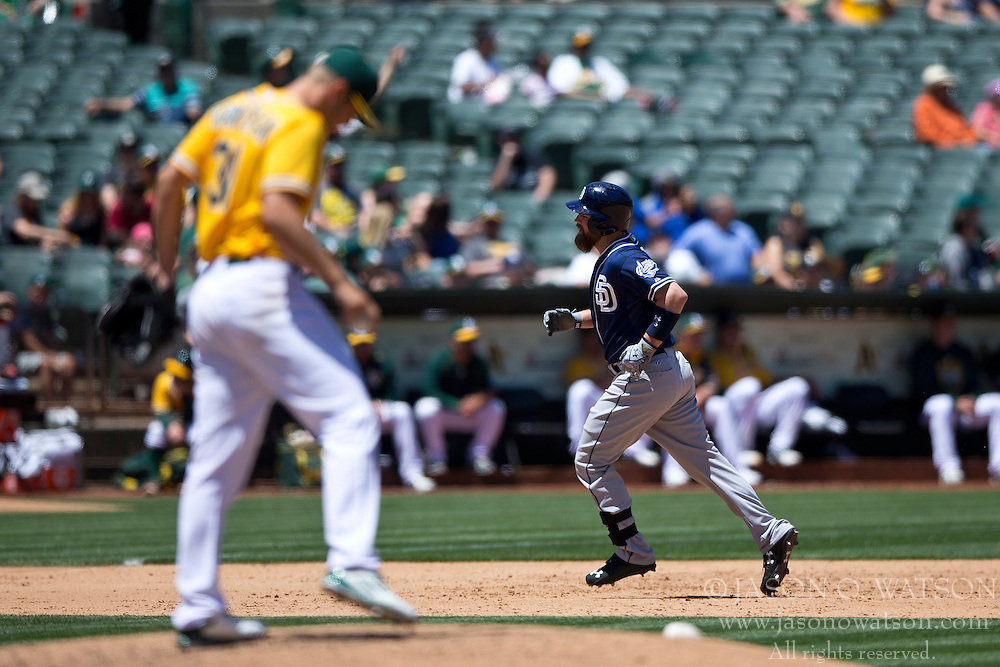 OAKLAND, CA - JUNE 18:  Derek Norris #3 of the San Diego Padres rounds the bases after hitting a home run off of Kendall Graveman #31 of the Oakland Athletics during the sixth inning at O.co Coliseum on June 18, 2015 in Oakland, California. The San Diego Padres defeated the Oakland Athletics 3-1. (Photo by Jason O. Watson/Getty Images) *** Local Caption *** Derek Norris; Kendall Graveman