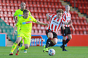 Jay Harris and Jack Munns during the Vanarama National League match between Cheltenham Town and Tranmere Rovers at Whaddon Road, Cheltenham, England on 26 September 2015. Photo by Antony Thompson.