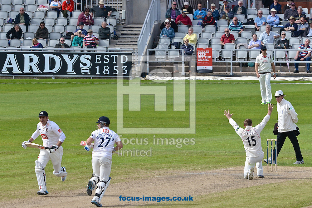 Steven Croft of Lancashire County Cricket Club appeals for LBW against Rory Hamilton-Brown of Sussex County Cricket Club during the LV County Championship Div One match at Old Trafford Cricket Ground, Stretford<br /> Picture by Ian Wadkins/Focus Images Ltd +44 7877 568959<br /> 06/05/2014