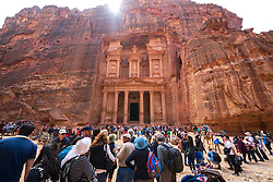 Mass tourism at The Treasury (Al Khazneh), at Petra, Jordan, UNESCO World Heritage Site