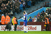 Ipswich Town striker Freddie Sears (20) scores a goal and celebrates in front of the Ipswich Town fans during the EFL Sky Bet Championship match between Aston Villa and Ipswich Town at Villa Park, Birmingham, England on 26 January 2019.
