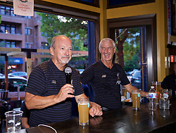 CHICAGO, ILLINOIS, USA - Wednesday, July 17, 2019: Liverpool's chief executive officer Peter Moore (L) and Club Ambassador Ian Rush attend a supporters' event at AJ Hudson's Public House in Chicago on day two of the club's pre-season tour of America. (Pic by David Rawcliffe/Propaganda)