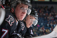 KELOWNA, CANADA -FEBRUARY 5: Brady Gaudet D #7 of the Red Deer Rebels stands on the bench against the Kelowna Rockets on February 5, 2014 at Prospera Place in Kelowna, British Columbia, Canada.   (Photo by Marissa Baecker/Getty Images)  *** Local Caption *** Brady Gaudet;