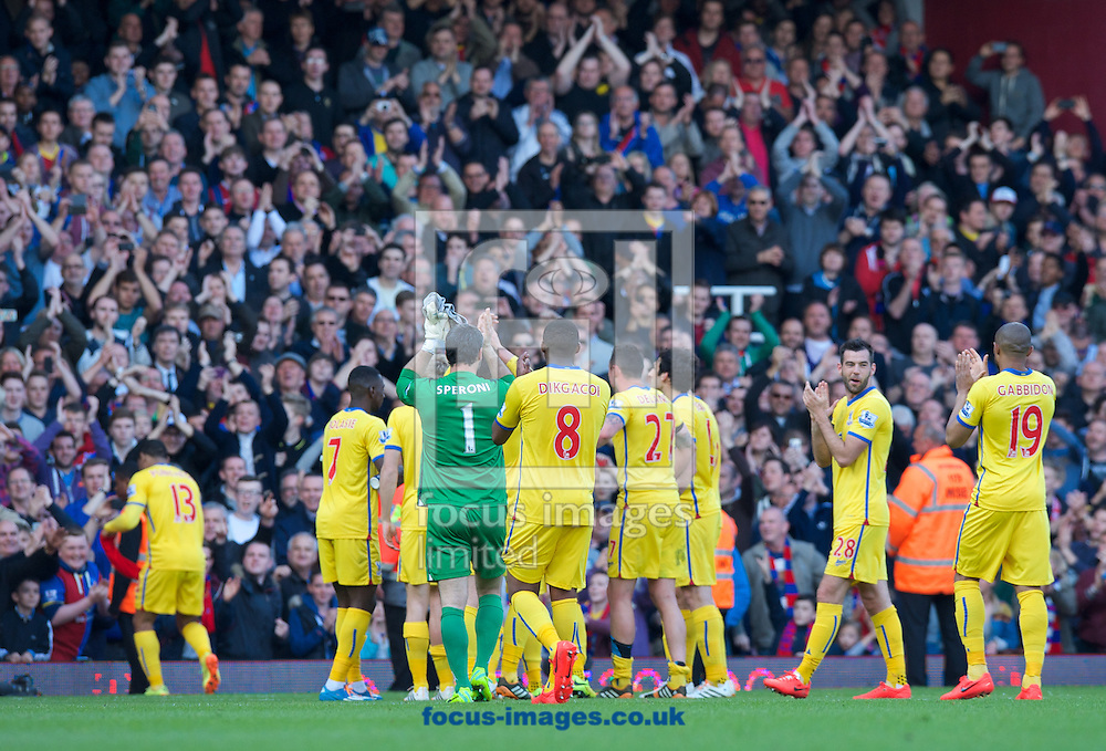 Crystal Palace players thank their fans after their 1-0 win in the Barclays Premier League match at the Boleyn Ground, London<br /> Picture by Alan Stanford/Focus Images Ltd +44 7915 056117<br /> 19/04/2014
