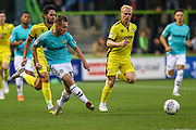 Forest Green Rovers George Williams(11) passes the ball forward during the EFL Trophy match between Forest Green Rovers and Cheltenham Town at the New Lawn, Forest Green, United Kingdom on 4 September 2018.