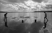 Shellfish gatherers at Maragogipe, Bahia State, Brazil.