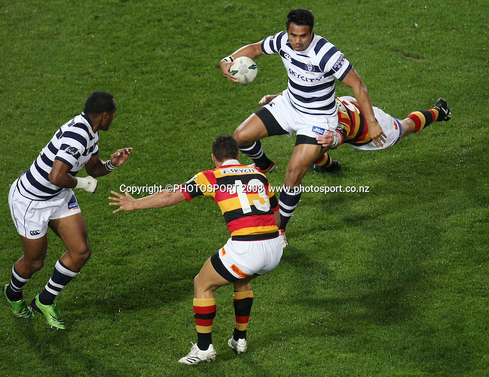 Auckland's Isaia Toeava tackled with Joe Rokocoko at hand and Jackson Willison in defence. Air NZ Cup, Waikato v Auckland, Waikato Stadium, Hamilton, Saturday 30 August 2008. Photo: Stephen Barker/PHOTOSPORT