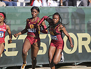 Angie Annelus Anglerne Annelus) takes the handoff from Lanae-Tava Thomas on the third leg of the Southern California Trojans women's 4 x 100m relay that won its heat in 42.84 for the top time during the NCAA West Track & Field Preliminary, Saturday, May 25, 2019, in Sacramento, Calif.