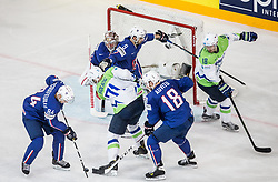 Kevin Hecquefeuille of France and Yohann Auvitu of France vs Bostjan Golicic of Slovenia during the 2017 IIHF Men's World Championship group B Ice hockey match between National Teams of France and Slovenia, on May 15, 2017 in AccorHotels Arena in Paris, France. Photo by Vid Ponikvar / Sportida