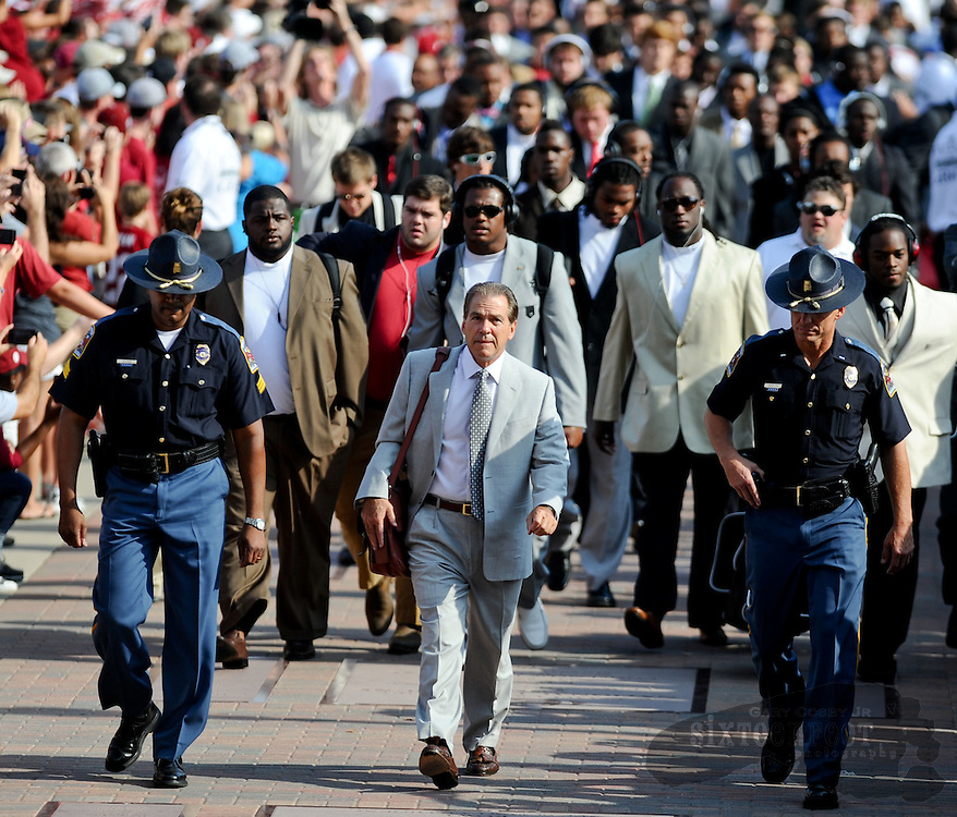Daily Photo by Gary Cosby Jr.    ....Alabama fans greet Head Coach Nick Saban and the Crimson Tide players as they make the Walk of Champions into Bryant Denny Stadium for the season opener against Kent State September 3, 2011...