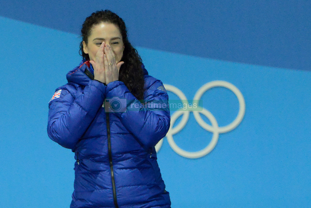 February 18, 2018 - Pyeongchang, South Korea - LAURA DEAS of Great Britain celebrates getting the bronze medal in the Women's Skeleton event in the PyeongChang Olympic Games. (Credit Image: © Christopher Levy via ZUMA Wire)