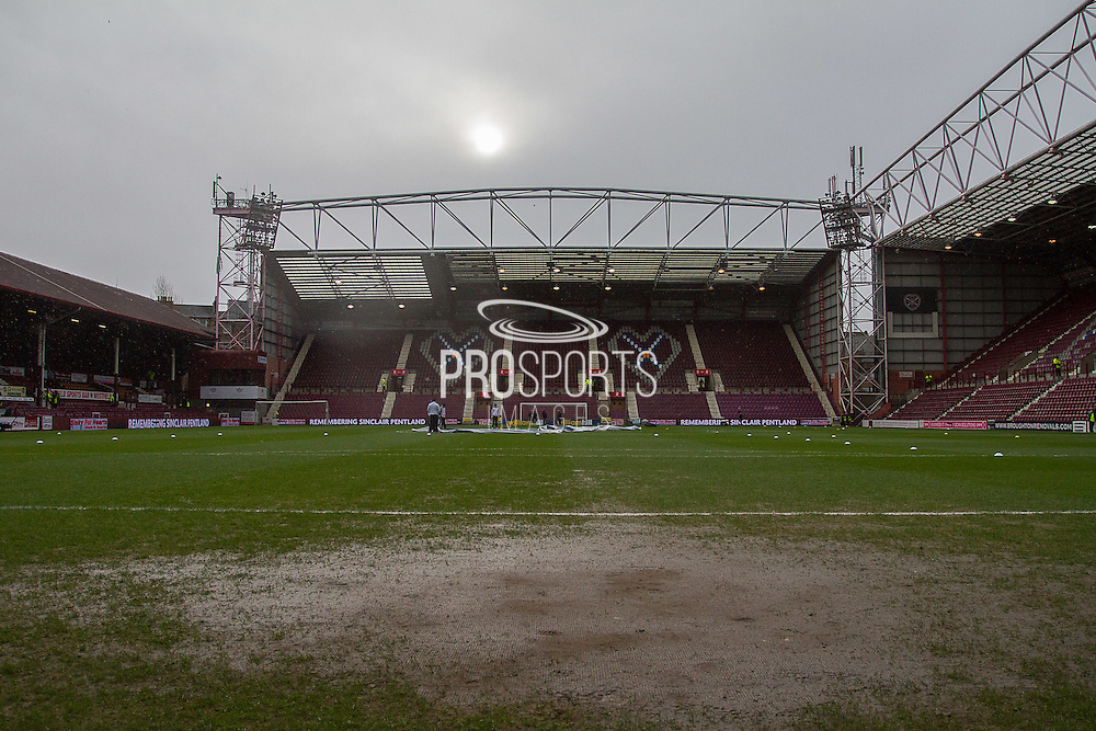 Tyne castle Stadium not in the greatest of conditions for the Scottish Cup 5th round match between Heart of Midlothian and Hibernian at Tynecastle Stadium, Gorgie, Scotland on 7 February 2016. Photo by Craig McAllister.
