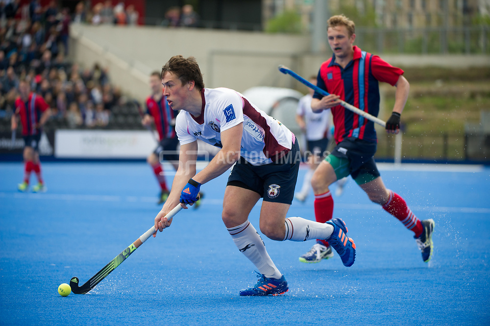 Wimbledon's Borja Llorens comes forward with the ball. Wimbledon v Hampstead & Westminster - Semi-Final - Men's Hockey League Finals, Lee Valley Hockey & Tennis Centre, London, UK on 22 April 2017. Photo: Simon Parker