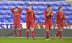 READING, ENGLAND - Wednesday, March 12, 2014: Liverpool's Joe Maguire looks dejected as Reading score a late equalising goal to level the scores at 4-4 during the FA Youth Cup Quarter-Final match at the Madejski Stadium. (Pic by David Rawcliffe/Propaganda)