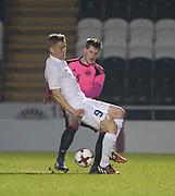 Scotland's Jamie McCart and Estonia's Peeter Klein - Scotland under 21s v Estonia international challenge match at St Mirren Park, St Mirren. Pic David Young<br />  <br /> - © David Young - www.davidyoungphoto.co.uk - email: davidyoungphoto@gmail.com
