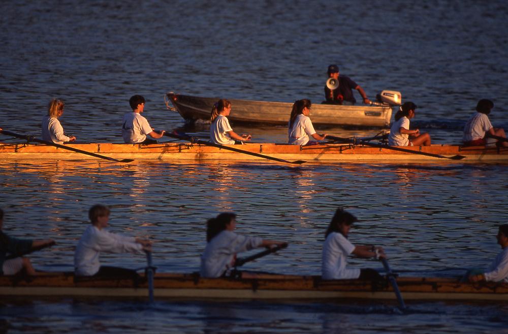 Rowing training, Susquehanna River, Pennsylvania
