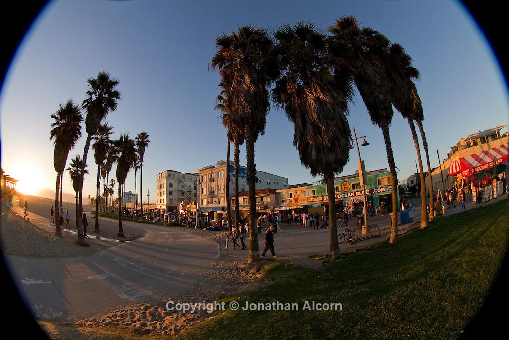 Venice Beach boardwalk and bike path photographed with a fisheye lens..photo by Jonathan Alcorn.