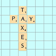 Digitally created Scrabble tiles on a board spelling out a plea to pay taxes