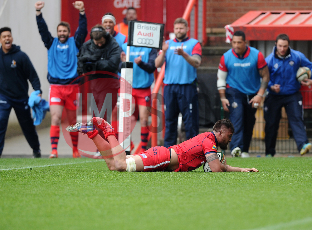 Bristol Flanker Jack Lam scores a try  - Photo mandatory by-line: Joe Meredith/JMP - Mobile: 07966 386802 - 02/05/2015 - SPORT - Rugby - Bristol - Ashton Gate - Bristol Rugby v Rotherham - Greene King IPA Championship