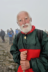 Faces on Croagh Patrick .....James Keogh on the summit of Croagh Patrick yesterday.<br /> Pic Conor McKeown