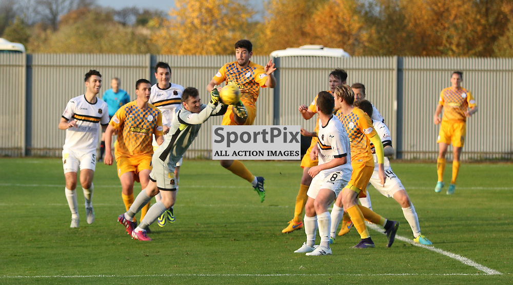 Mark Brown punches clear during the Dumbarton FC v Morton FC Scottish Championship 31 October 2015 <br /> <br /> (c) Andy Scott | SportPix.org.uk