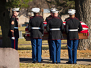 22 NOVEMBER 2019 - DES MOINES, IOWA: Members of the US Marine Corps Honor Guard carry the casket bearing the remains of US Marine Corps Reserve Private Channing Whitaker into Whitaker's reinterment ceremony in Glendale Cemetery. Whitaker died in the Battle of Tarawa on Nov. 22, 1943. He was buried on Betio Island, in the Gilbert Islands, and his remains were recovered in March 2019. He was identified by a DNA match with surviving family members in Iowa. Whitaker was reintered in the Glendale Cemetery in Des Moines exactly 76 years after his death in World War Two. About 1,000 US Marines and sailers were killed in four days during the Battle of Tarawa.             PHOTO BY JACK KURTZ