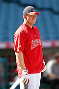 ANAHEIM, CA - JULY 28:  Mark Trumbo #44 of the Los Angeles Angels of Anaheim looks on during batting practice before the game against the Tampa Bay Rays on Saturday, July 28, 2012 at Angel Stadium in Anaheim, California. The Rays won the game in a 3-0 shutout. (Photo by Paul Spinelli/MLB Photos via Getty Images) *** Local Caption *** Mark Trumbo