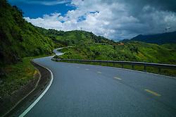 AH 13 road winding along mountainous landscape, Dien Bien Province, Vietnam, Southeast Asia