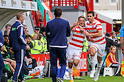 Hamilton Academical Midfielder Gramoz Kurtaj celebrates his opening goal during the Ladbrokes Scottish Premiership match between Hamilton Academical FC and Celtic at New Douglas Park, Hamilton, Scotland on 4 October 2015. Photo by Craig McAllister.