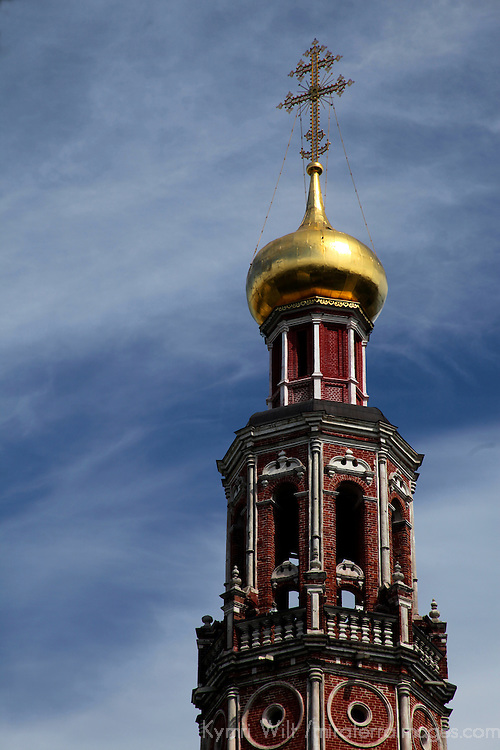 Europe, Russia, Moscow. Belltower of Novodevichy Convent.