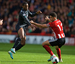 SHEFFIELD, ENGLAND - Thursday, September 26, 2019: Liverpool's Georginio Wijnaldum (L) and Sheffield United's John Egan during the FA Premier League match between Sheffield United FC and Liverpool FC at Bramall Lane. (Pic by David Rawcliffe/Propaganda)