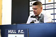 Hull FC Head Coach Lee Radford in the Post Match Press Conference after the Betfred Super League match between Hull FC and Hull Kingston Rovers at Kingston Communications Stadium, Hull, United Kingdom on 19 April 2019.