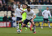 Preston North End Defender Bailey Wright (6) and Brighton striker, Sam Baldock (9) during the Sky Bet Championship match between Preston North End and Brighton and Hove Albion at Deepdale, Preston, England on 5 March 2016.
