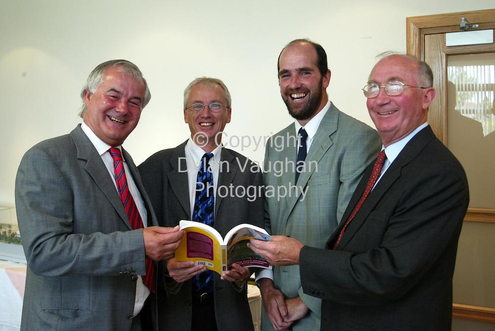 "1/7/2003.Pictured at Waterford Institute of Technology at a meeting of the Irish sports Council was from left Dr Kieran R Byrne Director WIT, John Treacy Chief Executive Irish Sports Council,Dr Sean Connor a lecturer in sports sociology at WIT who presented a book ""Youth Sport in Ireland"" to the council and Patrick A O Neill Chairperson Irish Sports Council..Picture Dylan Vaughan"