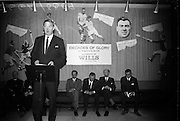 """17/05/1966<br /> 05/17/1966<br /> 17 May 1966<br /> Book reception for """"Decades of Glory: A Comprehensive History of the National Game"""" by Raymond Smith.<br /> This reception was held in the offices of W.D. & H.O. Wills to honour the well known author and journalist, Raymond Smith. His book on the history of Hurling (""""Decades of Glory"""") has just been published with the assistance of Wills of Dublin and Cork and the Central Council of the G.A.A.<br /> Mr. D.R. Mott, the Managing Director of Wills speaking at the reception."""