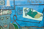 Mural depicting maternal health images at the Badegna community health center in the town of Kita, Mali on Sunday August 29, 2010.