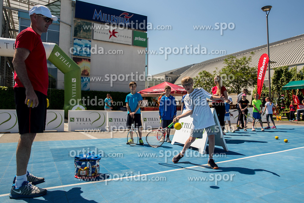 "Fan tennis event for kids named ""Play tennis"" by Tenis Slovenija, on May 21, 2016 in BTC - Millenium centre Ljubljana, Slovenia. Photo by Vid Ponikvar / Sportida"
