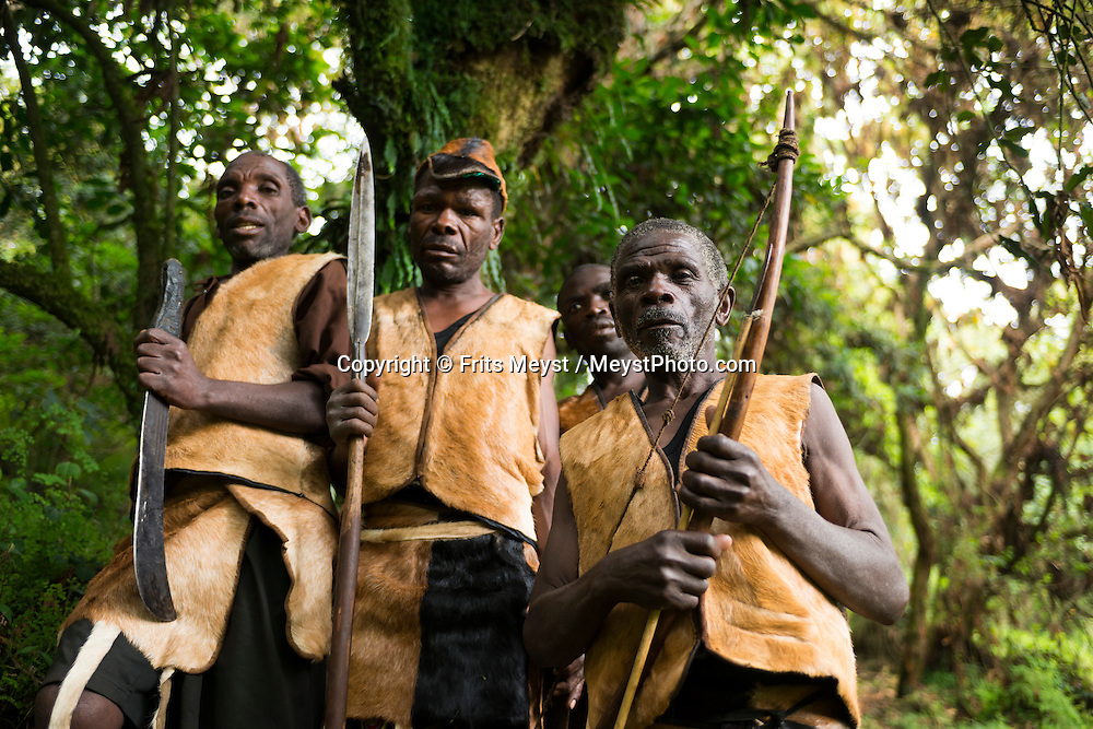 Mgahinga Gorilla National Park, Kisoro, Uganda, April 2014. Batwa guides (L to R) Serutoke Steven, Kanyabikingi H, Bagaragaza Gad, Mpagazihe Wilson. The dense forests at the foot of the Virunga Volcanoes were home to the Batwa people: hunter-gatherers and fierce warriors who depended on the forest for shelter, food and medicine thanks to ancient knowledge passed down for generations. When Mgahinga Gorilla National Park was established, the Batwa were suddenly evicted from the forest and forced to abandon their low-impact, nomadic lifestyle. Now landless, they work when they can for local farmers, and the only time they are permitted to re-enter their cherished forest is as guides on The Batwa Trail where they earn a living demonstrating their survival techniques. Photo by Frits Meyst / MeystPhoto.com