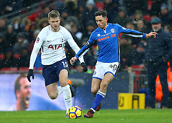 Ian Henderson of Rochdale takes on Eric Dier of Tottenham Hotspur - Mandatory by-line: Robbie Stephenson/JMP - 28/02/2018 - FOOTBALL - Wembley Stadium - London, England - Tottenham Hotspur v Rochdale - Emirates FA Cup fifth round proper