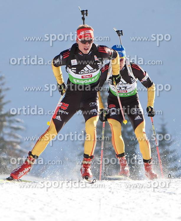 09.12.2011, Biathlonzentrum, Hochfilzen, AUT, E.ON IBU Weltcup, 2. Biathlon, Herren 10km Sprint, im Bild Simon Schempp (GER, vorne) und Andreas Birnbacher (GER) // Simon Schempp of Germany and Andreas Birnbacher of Germany during men 10km Sprint at E.ON IBU Worldcup 2th Biathlon, Hochfilzen, Austria on 2011/12/09. EXPA Pictures © 2011, PhotoCredit: EXPA/ Johann Groder