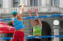 Jure Peter Bedrac vs David Cuk at Beach Volleyball Challenge Ljubljana 2014, on August 1, 2014 in Kongresni trg, Ljubljana, Slovenia. Photo by Matic Klansek Velej / Sportida.com