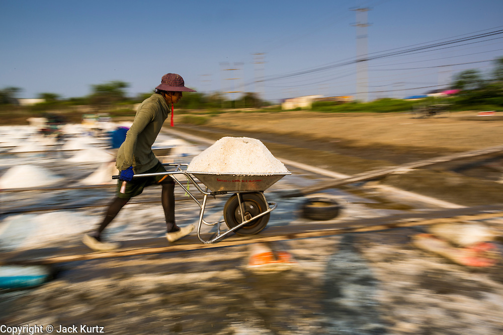 "28 MARCH 2014 - NA KHOK, SAMUT SAKHON, THAILAND: Workers move salt from an evaporation pond to a drying area in Samut Sakhon province. Thai salt farmers south of Bangkok are experiencing a better than usual year this year because of the drought gripping Thailand. Some salt farmers say they could get an extra month of salt collection out of their fields because it has rained so little through the current dry season. Salt is normally collected from late February through May. Fields are flooded with sea water and salt is collected as the water evaporates. Last year, the salt season was shortened by more than a month because of unseasonable rains. The Thai government has warned farmers and consumers that 2014 may be a record dry year because an expected ""El Nino"" weather pattern will block rain in mainland Southeast Asia. Salt has traditionally been harvested in tidal basins along the coast southwest of Bangkok but industrial development in the area has reduced the amount of land available for commercial salt production and now salt is mainly harvested in a small parts of Samut Songkhram and Samut Sakhon provinces.    PHOTO BY JACK KURTZ"
