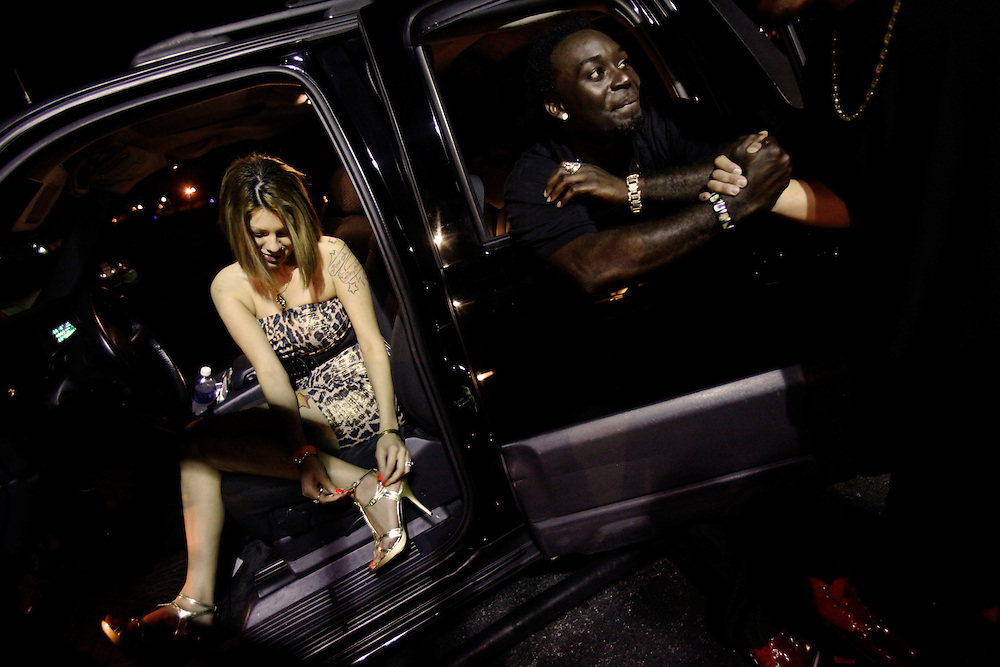 Vonbitt Robinson, right, and Angelica Tirado hang out outside of The Reserve night club in Fort Myers after a 420 Celebration on April 20, 2011. Promoters uses nights like this to host artists in a VIP section and network with possible local acts.