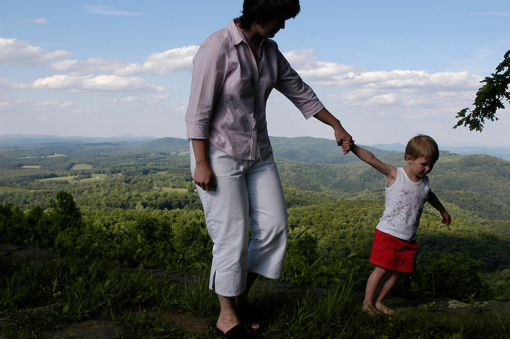 """Blue Ridge Parkway, Roanoke, VA-- """"It was here that Mommy and Daddy got engaged,"""" Tara Underwood told her 3 year-old daughter Bailey, during a visit by the fammily at the park called """"the Saddle"""" near Roanoke off the Blue Ridge Parkway. Tara Underwood @ 540.745.3739"""
