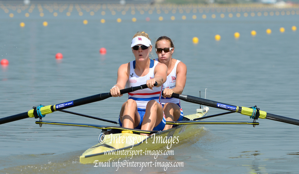 Chungju, South Korea. GBR W2- Bow Helen GLOVER , and Polly SWANN during the morning heat at the 2013 FISA World Rowing Championships, , Tangeum Lake International Regatta Course. 11:04:56  Sunday  25/08/2013 [Mandatory Credit. Peter Spurrier/Intersport Images]