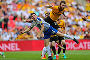Newport County defender Mark O'Brien (25) collides Tranmere Rovers forward Connor Jennings (11) during the EFL Sky Bet League 2 Play Off Final match between Newport County and Tranmere Rovers at Wembley Stadium, London, England on 25 May 2019.